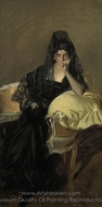 Portrait of Senora de Urcola Wearing a Black Mantilla painting reproduction, Joaquin Sorolla