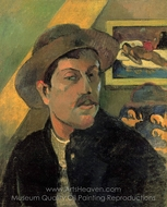 Portrait of the Artist with Hat painting reproduction, Paul Gauguin