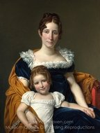 Portrait of the Comtesse Vilain XIIII and Her Daughter painting reproduction, Jacques-Louis David