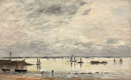Portrieux, le port Maree Basse painting reproduction, Eugene-Louis Boudin