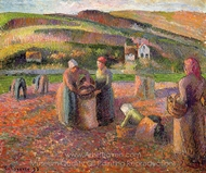 Potato Harvest painting reproduction, Camille Pissarro