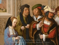 Potiphar's Wife Displays Joseph's Garment painting reproduction, Lucas Van Leyden