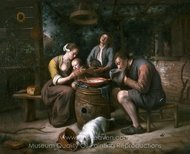 Prayer before the Meal painting reproduction, Jan Steen