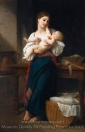 Premieres Caresse painting reproduction, William A. Bouguereau