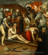 Preparations for the Crucifixion painting reproduction, Luis de Vargas