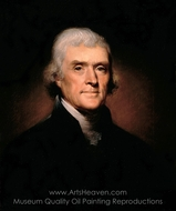 Presidential Portrait of Thomas Jefferson painting reproduction, Rembrandt Peale