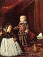 Prince Balthasar Carlos with a Dwarf painting reproduction, Diego Velazquez