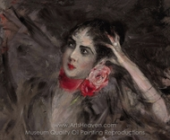 Princess Catherine Radziwill with a Red Ribbon painting reproduction, Giovanni Boldini