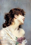 Profile of a Young Woman painting reproduction, Giovanni Boldini