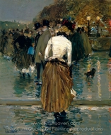 Promenade at Sunset, Paris painting reproduction, Childe Hassam