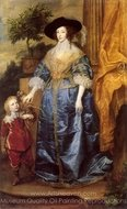 Queen Henrietta Maria with Sir Jeffrey Hudson painting reproduction, Sir Anthony Van Dyck