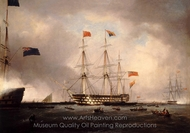 Queen Victoria's Visit to HMS Queen at Portsmouth, 1 March 1842 painting reproduction, Robert Strickland Thomas