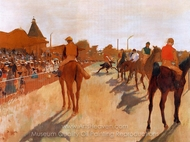 Racehorses before the Stands painting reproduction, Edgar Degas