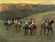 Racehorses in a Landscape painting reproduction, Edgar Degas