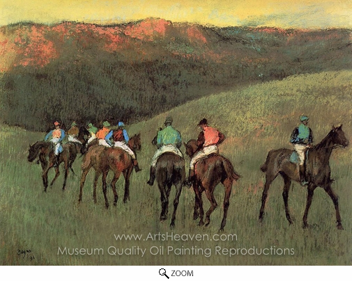 Edgar Degas, Racehorses in a Landscape oil painting reproduction