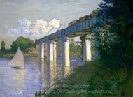 Railroad Bridge, Argenteuil painting reproduction, Claude Monet