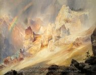 Rainbow over the Grand Canyon of the Yellowstone painting reproduction, Thomas Moran