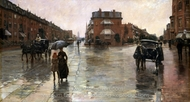 Rainy Day, Boston painting reproduction, Childe Hassam