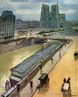 Rainy Day in Paris, Notre Dame painting reproduction, Albert Marquet