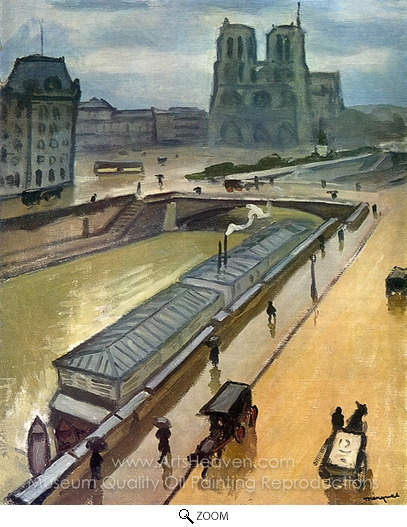 Albert Marquet, Rainy Day in Paris, Notre Dame oil painting reproduction