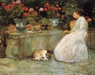 Reading painting reproduction, Childe Hassam