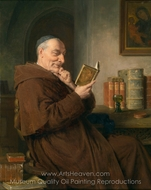 Reading Monk With Wine Glass painting reproduction, Eduard Von Grutzner