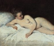 Reclining Nude painting reproduction, Jean Antoine Watteau
