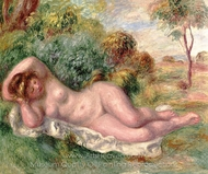 Reclining Nude (The Baker's Wife) painting reproduction, Pierre-Auguste Renoir
