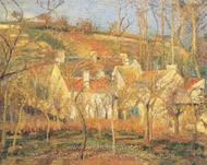 Red Roofs, a Corner of the Village in Winter painting reproduction, Camille Pissarro