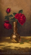 Red Roses in a Japanese Vase on a Gold Velvet Cloth painting reproduction, Martin Johnson Heade