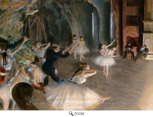 Edgar Degas, Rehearsal of Ballet on the Stage oil painting reproduction