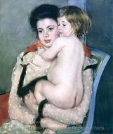 Reine Lefebre Holding a Nude Baby painting reproduction, Mary Cassatt
