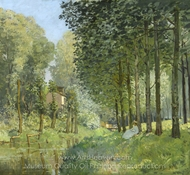 Rest along the Stream, Edge of the Wood painting reproduction, Alfred Sisley