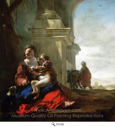 Jan Weenix, Rest on the Flight into Egypt oil painting reproduction