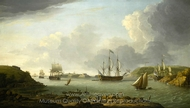 Return of a Fleet into Plymouth Harbour painting reproduction, Dominic Serres