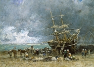 Return of the Terre-Neuvier painting reproduction, Eugene-Louis Boudin