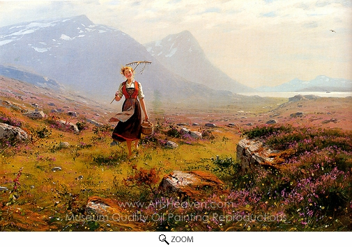 Hans Dahl, Returning from the Fields oil painting reproduction