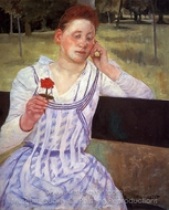Reverie (Woman with a Red Zinnia) painting reproduction, Mary Cassatt