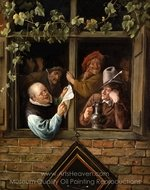 Rhetoricians at a Window painting reproduction, Jan Steen