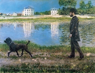 Richard Gallo and His Dog at Petit Gennevilliers painting reproduction, Gustave Caillebotte