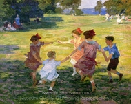 Ring Around the Rosie painting reproduction, Edward Henry Potthast