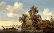 River Landscape with a Ferry painting reproduction, Salomon Van Ruysdael