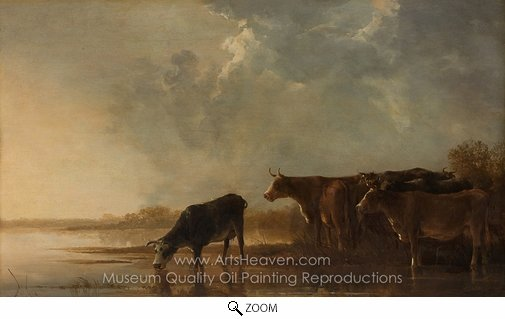 Aelbert Cuyp, River Landscape with Cows oil painting reproduction