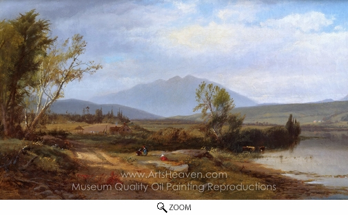 William M. Hart, River Landscape with Figures oil painting reproduction