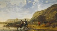 River Landscape with Riders painting reproduction, Aelbert Cuyp
