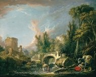 River Landscape with Ruin and Bridge painting reproduction, Francois Boucher