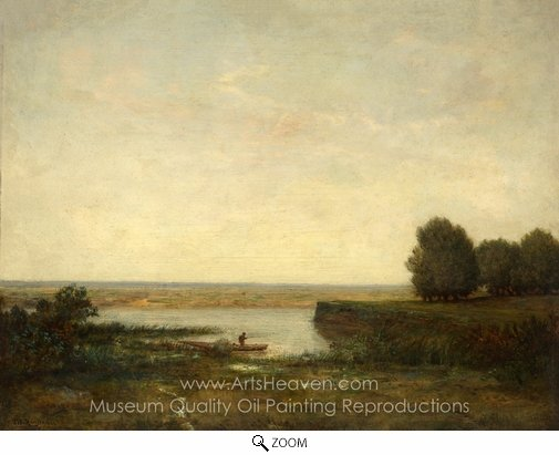 Theodore Rousseau, River Scene oil painting reproduction