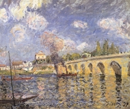 River Steamboat and Bridge painting reproduction, Alfred Sisley