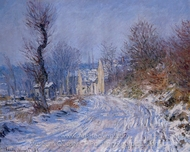 Road to Giverny in Winter painting reproduction, Claude Monet