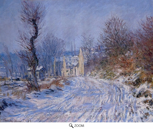 Claude Monet, Road to Giverny in Winter oil painting reproduction